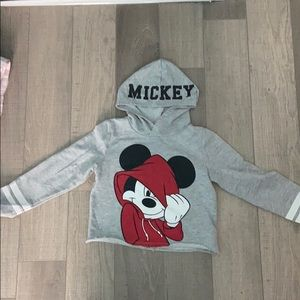 H&M Shirts & Tops - Grey, cropped Mickey Mouse Hoodie.